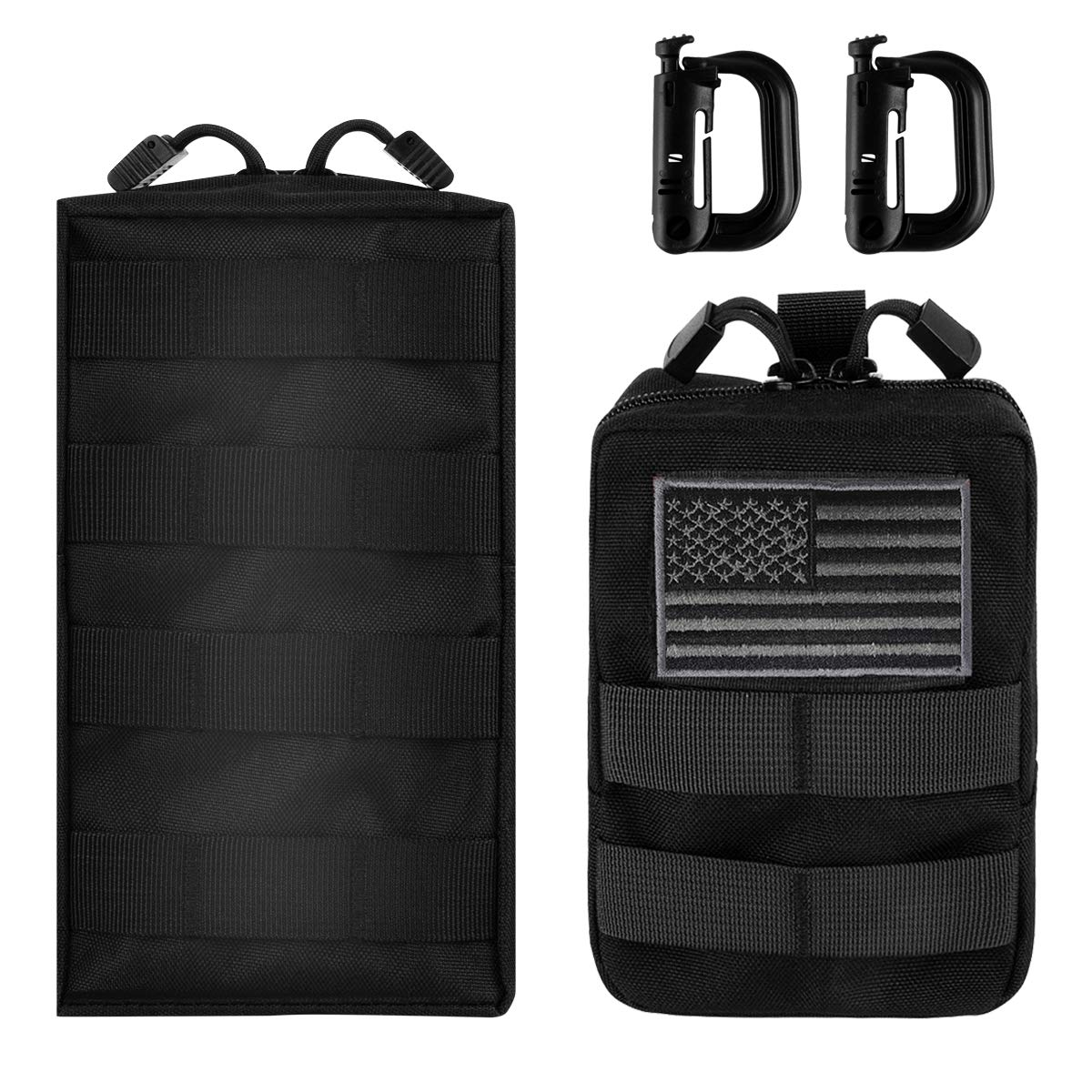 IronSeals MOLLE Pouch Multi-Purpose Tactical Compact Pack Water-Resistant Utility EDC Pouch with US Flag Patch