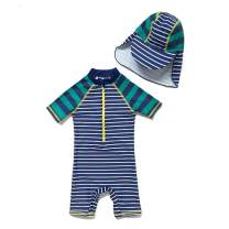 BONVERANO Baby&Toddler Boys Sunsuit UPF 50+ Sun Protection S/S One Piece Swimsuit with Zipper