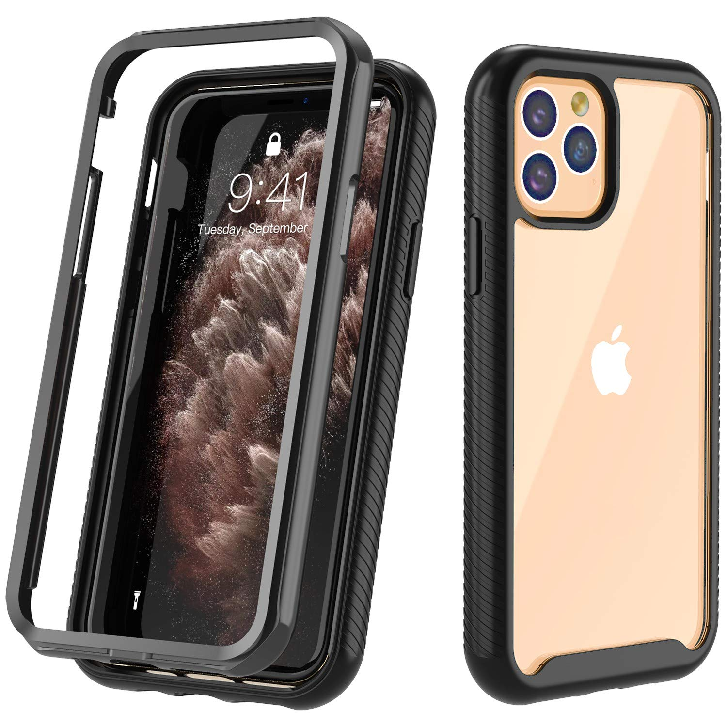 Touber Clear Case for iPhone 11 Pro Max, HD Clear Full Body Heavy Duty Protection, Shockproof Anti-Scratched Rugged Cover, iPhone 11 Pro Max Case 6.5 inch 2019 (Black/Clear)