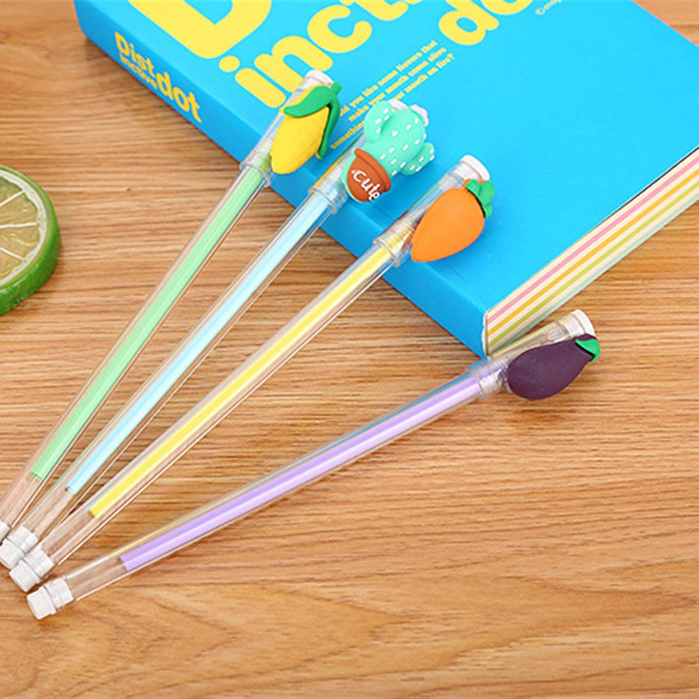 WIN-MARKET Rural Crops Vegetables Gel Ink Pen Cute Kawaii Black Writing Pens Ballpoint Black Ink Gel Pen Party Gift Gel Ink Pens Funny School Stationery Office Supplies(6PCS)