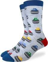 Good Luck Sock Men's Curling Stones Socks - Blue, Adult Shoe Size 7-12