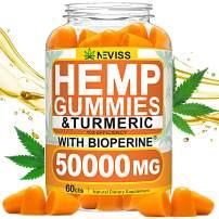 Hemp Gummiés with Turmeric & Bioperine 50000 MG, Hemp Gummiés for Pain and Anxiety Relief, Stress & Inflammation Relief, Sleep, Calm & Mood Support, 100% Natural Organic Hemp Gummiés Made in USA