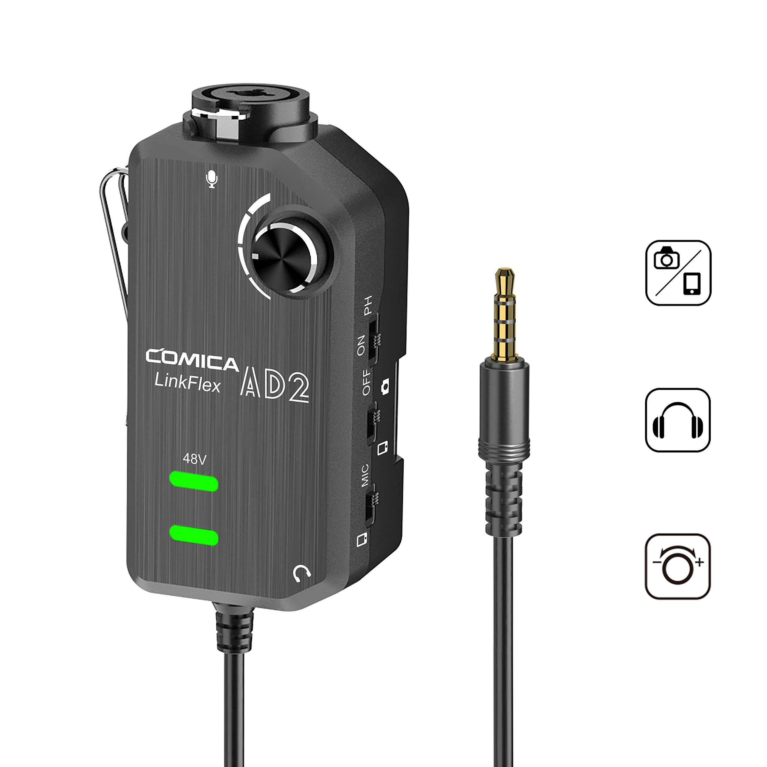 Comica LINKFLEX.AD2 XLR/ 6.35mm Microphone Preamp, with 48V Phantom Power, Real Time Monitor, XLR/Guitar Interface Adaptor for iPhone, iPad,Mac/PC, Android Device and DSLR Cameras