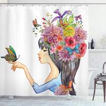 "Ambesonne Floral Shower Curtain, Colorful Spring Flowers Leaves with a Long Haired Woman Butterfly Artwork Image, Cloth Fabric Bathroom Decor Set with Hooks, 75"" Long, Beige Blue"