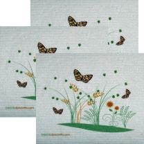 3 Spring Butterflies Set of 3 Each Swedish Dishcloths | ECO Friendly Absorbent Cleaning Cloth | Reusable Cleaning Wipes