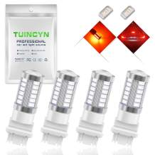 TUINCYN 3156 LED Brake Light Bulb Red 5630 33SMD 900 Lumens 1141 7056 Super Bright Tail Light Back Up Reverse Light Parking Light Turn Signal Light Lamp DC 12V 3.6W (Pack of 4)