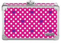 "Vaultz Locking Supplies & Pencil Box with Key Lock, 5""x 2.5""x 8.5"", Pink White/Polka Dot Heart (VZ03607)"