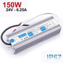 EAGWELL 150W LED Driver, Waterproof IP67 Power Supply 24V DC Transformer Durable Low Voltage Power Supply for LED Light, Computer Project, Industrial