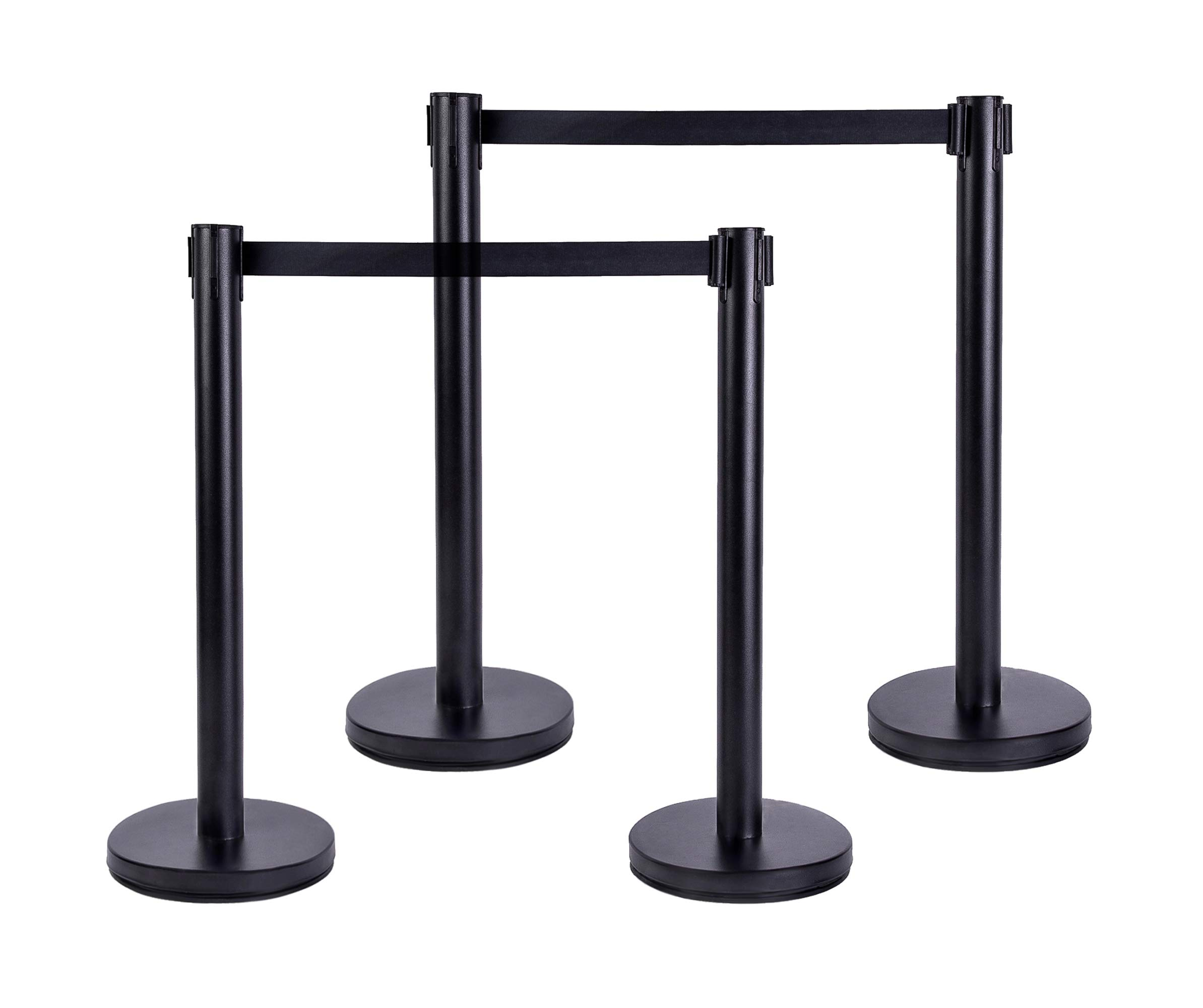 Best Companions 36 Inch Stanchions with 6.56 Foot Retractable Belt, Crowd Control Barrier-Set of 4, Black
