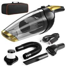 Solpuo Handheld Vacuum, Car Vacuum Cleaner, Powerful Suction Portable Vacuum Cleaner for Home and Car Cleaning, Lightweight Hand Wireless Vacuum Cleaner Powered by USB Quick Charge Tech - Gold