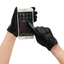 GSG Birthday Gifts Womens Fashion Driving Leather Gloves Touchscreen Studded Gloves Rivets Warm Black Whirlpool