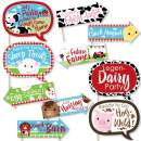 Funny Farm Animals - Baby Shower or Birthday Party Photo Booth Props Kit - 10 Piece
