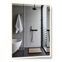 B&C 28x36 inch Super Slim Bathroom Mirror|Vertical or Horizontal|LED Backlit|Polished Edge &Frameless|Defogger & Dimmer|Touch Switch|Copper Free Silver Backed