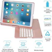 IEGROW iPad Keyboard Case for iPad Pro 10.5 (2017) - iPad Air 10.5 (3rd Generation 2019) - 360 Degree Rotatation - 7 Color Backlits - Smart Folio Case with Keyboard (Rose Gold)