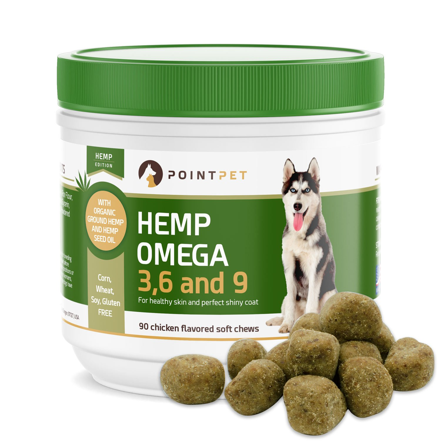 POINTPET Omega 3 6 9 for Dogs with Organic Hemp Oil - Dog Skin and Coat Fish Oil Supplement, Natural Fatty Acids EPA/DHA, Helps with Dry and Itchy Skin, Joints, Heart and Brain Health, 90 Soft Chews