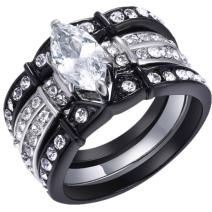MABELLA Black Wedding Engagement Ring Set Stainless Steel Marquise Cubic Zirconia Gifts for Women