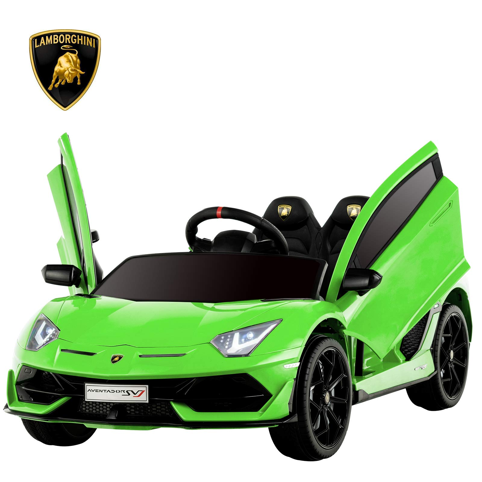 Uenjoy 12V Kids Electric Ride On Car Lamborghini Aventador SVJ Motorized Vehicles with Remote Control, Battery Powered, LED Lights, Wheels Suspension, Music, Horn,Compatible with Lamborghini,Green