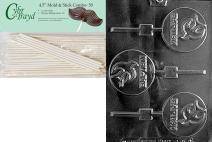 Cybrtrayd Baptism Lolly Chocolate Candy Mold with 50 4.5-Inch Lollipop Sticks and Exclusive Cybrtrayd Copyrighted Chocolate Molding Instructions