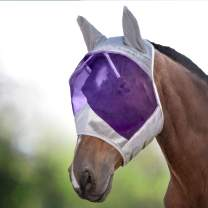 Harrison Howard CareMaster Horse Fly Mask Standard with Ears UV Protection for Horse Silver/Purple Retro
