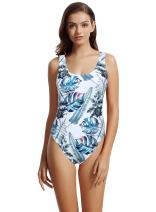 zeraca Women's High Cut Low Back One Piece Bathing Suits Swimsuits