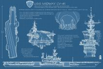 San Diego, California - USS Midway Blue Print (9x12 Art Print, Wall Decor Travel Poster)