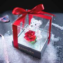 H&D HYALINE & DORA Crystal Bear Figurine with Red Crystal Rose Flower Figurines in Gift Box