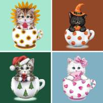 "SKRYUIE 4 Pack 5D Diamond Painting Halloween Christmas Gift Kittens Full Drill Paint with Diamond Art, DIY Cups Cats by Number Kits Wall Home Decor 12""x12"" (Sunflower Pumpkin Christmas Love)"