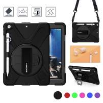 BRAECN iPad 10.2 Case 2019 with Pencil Holder,Heavy Duty Shockproof Hard Durable Rugged Kids Case with Pencil Cap Holder/Hand Strap/Built-in Stand/Shoulder Strap for ipad 7th Generation case-Black