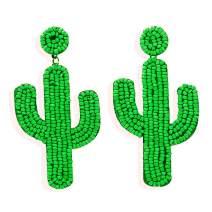 Beaded Dangle Earrings – Bohemian Statement Beaded Drop Fringe Earrings, Boho Handmade Bead Tassel Earrings Mother's Day Gift for Women Girls
