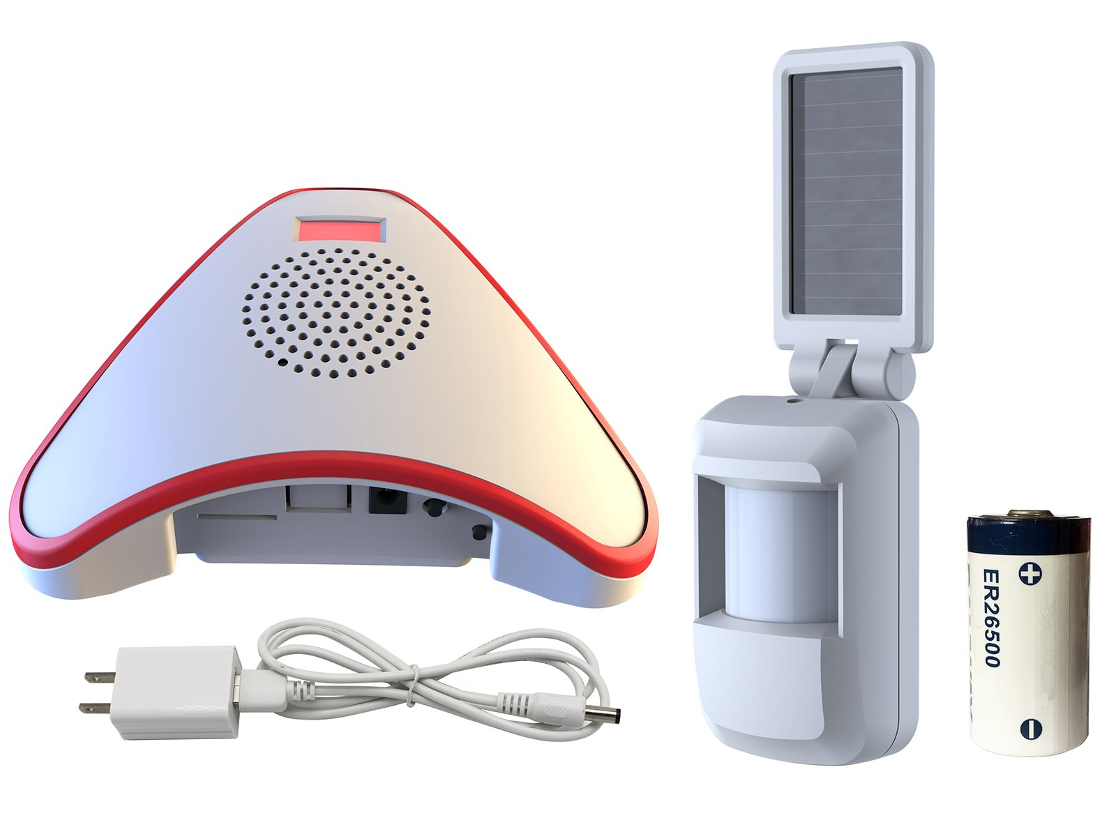 HTZSAFE Solar Wireless Indoor Motion Alarm System-No Need Replace The Battery-Sensor Included 9000mAh Lithium Battery-Home/Business Driveway security Alarm With 1 Sensor and 1 Receiver