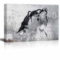 "wall26 - Canvas Wall Art - Wolf Painting on Shabby Wall - Giclee Print Gallery Wrap Modern Home Decor Ready to Hang - 12"" x 18"""