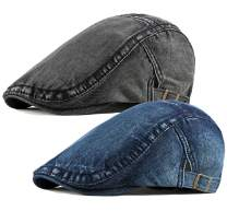2 Pack Mens Denim Cotton Newsboy Cap Ivy Gatsby Driving Hunting Cabbie Hats