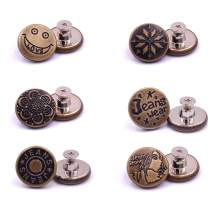 willikiva Replacement Jean Buttons 6 Sets 20mm Instant Buttons Adjustable Button No Sew Combo Copper Tack Buttons Metal Button(Z085)