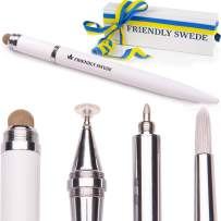 Capacitive 4-in-1 Stylus Pen with Replaceable Brush, Fiber Tip, Precision Disc + Ballpoint Pen in Gift Box, by The Friendly Swede (White)
