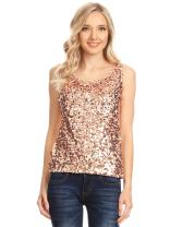 ANNA-KACI Womens Sequin Metallic Sparkly Cocktail Party Sleeveless Tank Top