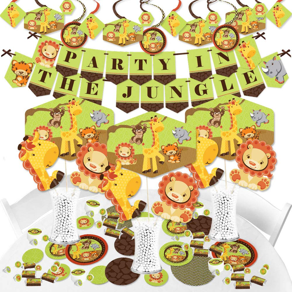 Big Dot of Happiness Funfari - Fun Safari Jungle - Baby Shower or Birthday Party Supplies - Banner Decoration Kit - Fundle Bundle
