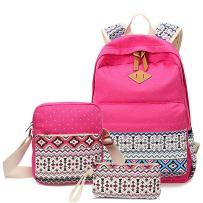 HITOP Backpacks for Teen Girls, Cute Fashion School Student Bookbag Set, Laptop Bag Shoulder Bag Pencil Bag 3 in 1 … (Pink (1 set))