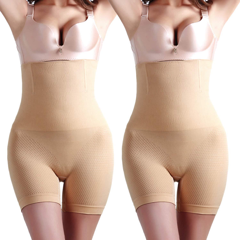 Kingfung 2 Packs Womens Shapewear Tummy Control Panties High-Waist Panty Mid-Thigh Body Shaper Shorts