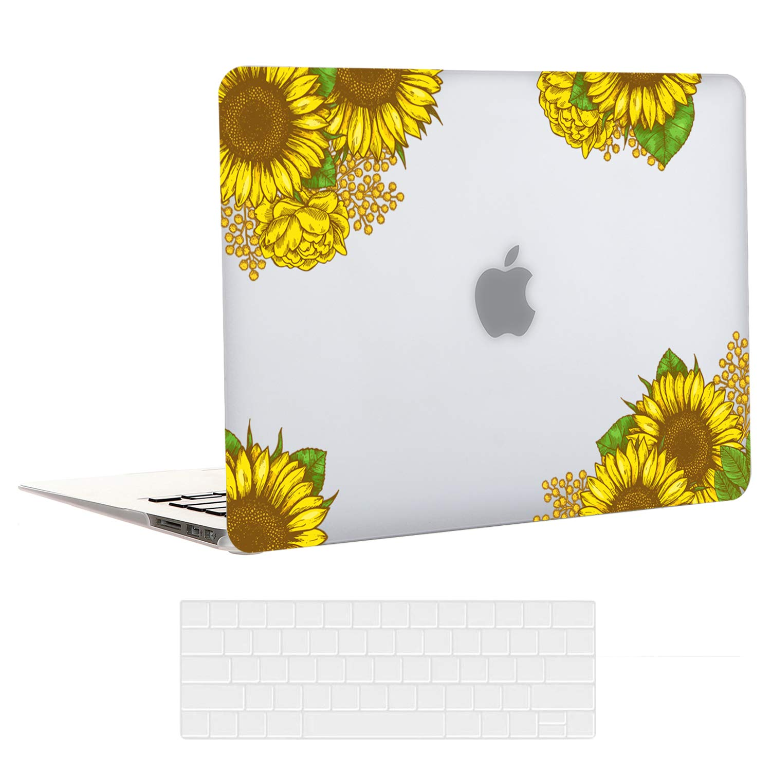 EkuaBot Sunflower MacBook Air 13 inch Case & Transparent Keyboard Cover (A1932, 2018-2019 Release), Matt Clear Rubber Coated Hard Case Only Compatible New MacBook Air 13.3 Retina Display & Touch ID
