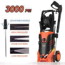 SUNCOO Electric Pressure Washer, 3000PSI 2.4 GPM Portable Power Washer with Spray Gun, Adjustable Nozzle,20ft High Pressure Hose, Hose Reel (High Pressure Washer Machine, Pressure Cleaner, Car Washer)