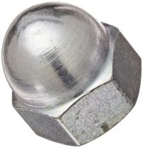 "Zinc Plated Steel Acorn Nut, USA Made, 1/4""-20 Thread Size, 7/16"" Width Across Flats, 15/32"" Height, 1/4"" Minimum Thread Depth (Pack of 25)"
