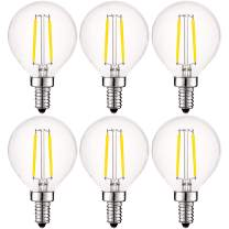 Luxrite 4W Vintage G16.5 LED Globe Light Bulbs Dimmable, 5000K Bright White, 400 Lumens, E12 LED Bulb 40W Equivalent, Clear Glass, Edison Filament LED Candelabra Bulb, UL Listed (6 Pack)