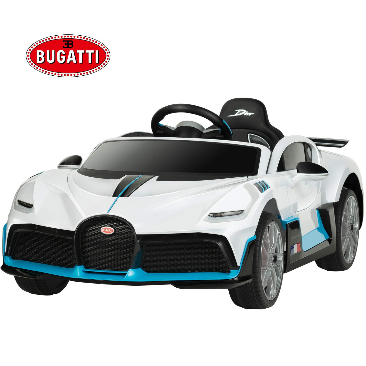 Uenjoy 12V Licensed Bugatti Divo Kids Ride On Car Electric Cars Motorized Vehicles for Kids, with Remote Control, Music, Horn, Spring Suspension, Safety Lock, White