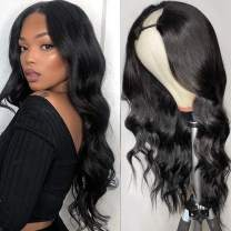 180% U Part Wig Human Hair Body Wave Human Hair Wigs for Black Women with Middle Part 18inch