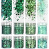 COKOHAPPY 8 Boxes 10ml Holographic Mermaid Dreams Green Chunky Glitter Sequins Iridescent Flakes Hexagon Tips Mixed Paillette Face Eyes Body Hair Nail Art