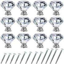Drawer Knobs 12 Pack Crystal Dresser Knobs 30mm Glass Cabinet Knobs