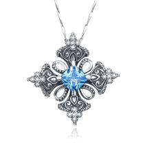 PAKULA Antique Finished 925 Sterling Silver Women Simulated Blue Topaz Good Luck Irish Cross Charms Pendant Necklace Chain 18 Inch