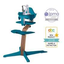 Nomi High Chair, Ocean – Premium Walnut Wood, Modern Scandinavian Design with a Strong Wooden Stem, Baby through Teenager and Beyond with Seamless Adjustability, Award Winning Highchair