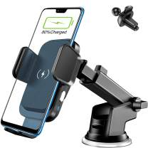 Wireless Car Charger Mount, FirMate 15W Fast Qi Car Charging Auto-Clamping, Dashboard Air Vent Car Phone Holder, Compatible for iPhone 12/12Pro/11/Pro/XS/XS Max/X/8, Galaxy Note20/10/S20+/S10+/S9+
