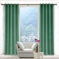 Macochico Faux Linen Curtains Room Drapery Panel with Antique Bronze Grommet for Bedroom Classrooms Sliding Glass Door Privacy Protection,Peacock 52W x 96L Inch (1 Panel)